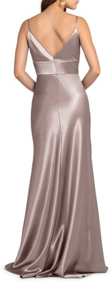 Jenny Yoo Collection Brenna V-Neck Satin Crepe Gown