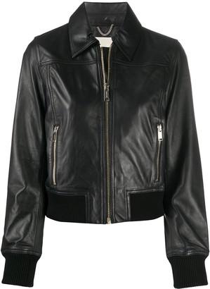 MICHAEL Michael Kors Rib-Trimmed Biker Jacket