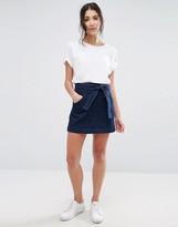 NATIVE YOUTH Tie-Waist Denim Mini Skirt