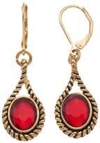 Dana Buchman Red Oval Stone Nickel Free Teardrop Earrings