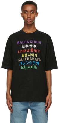 Balenciaga Black Languages Medium Fit T-Shirt
