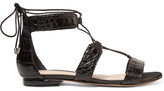 Alexandre Birman Brenda Lace-up Crocodile Sandals - Black