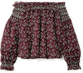 Giambattista Valli Off-the-shoulder Embroidered Cotton-blend Tulle Blouse - Burgundy