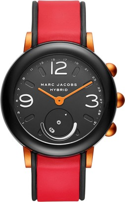 Marc Jacobs Women's Riley Nylon and Silicone Hybrid Smartwatch Color: Black Red (Model: MJT1008)