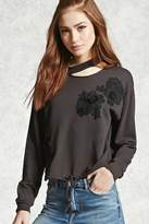 Forever 21 Embroidered Flower Pullover