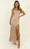 Showpo Together With You maxi dress in rose gold sequin - 14 (XL)