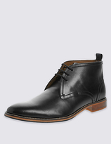 M&s Collection Leather Lace-up Layered Chukka Boots