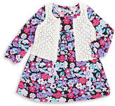 Design History Girls 2-6x Crocheted Vest and Floral Dress Set