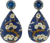 SILVIA FURMANOVICH Marquetry Blue Floral And Diamond Earrings