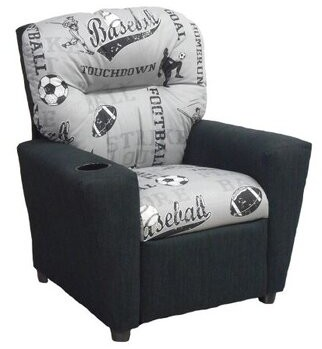 Zoomie Kids Copes Powell Sports Storm Kids Recliner With Cup Holder