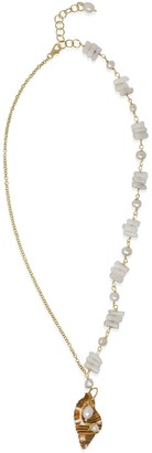 Triton Vintouch Italy Coral & Pearls Necklace With Shell