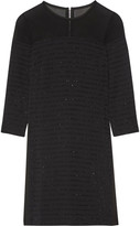 Karl Lagerfeld Tinsel-trimmed Paneled Crepe, Chiffon And Satin Mini Dress - Black
