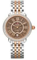 Michele Serein Diamond, Enamel, & Two-Tone Stainless Steel Bracelet Watch