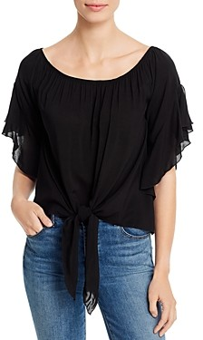 Elan International Off-the-Shoulder Tie-Front Top