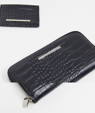 French Connection patent black croc purse and cardholder gift set