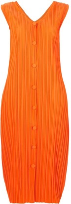 Bambah Pleated Button-Down Sleeveless Dress
