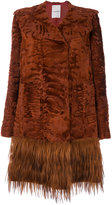 Valentino embossed fur coat - women - Calf Leather/Goat Fur/Goat Skin/Lamb Fur - 40