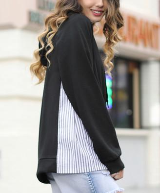 Z Avenue Women's Sweatshirts and Hoodies Black - Black Stripe-Inset Kangaroo-Pocket Hoodie - Women