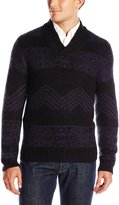 Axist Men's Jacquard Crossover V Neck Long Sleeve Sweater