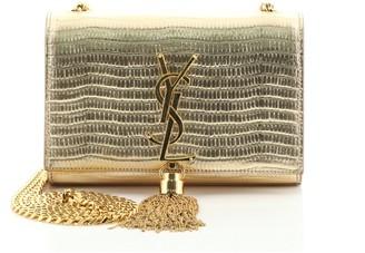 Saint Laurent Classic Monogram Tassel Crossbody Bag Crocodile Embossed Leather Small