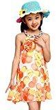 Kingfansion Girl Chiffon Print Spaghetti Strap Casual Party Dress Kids Clothing (110, Orange)