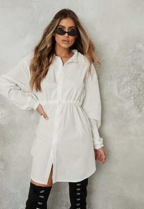 Missguided White Oversized Elasticated Waist Shirt Dress