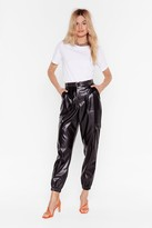 Nasty Gal Womens Faux Leather Too Old Utility High-Waisted Trousers - black - 6