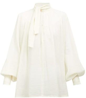 Ann Demeulemeester Tie-neck Balloon-sleeve Cotton-voile Blouse - White