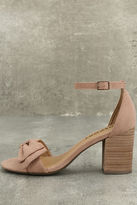 Report Pearlina Pink Suede Ankle Strap Heels