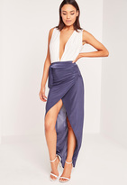 Missguided Slinky Tie Wrap Maxi Skirt Blue