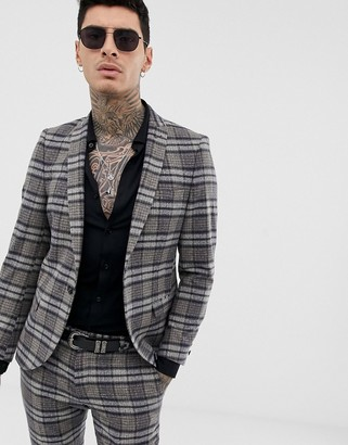 Twisted Tailor super skinny suit jacket in speckled plaid