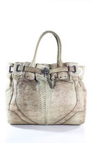 Rachel Zoe Brown Ivory Python Skin Magnet Closure Large Shoulder Handbag