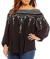 Chelsea & Theodore Plus Off the Shoulder Embroidered Top