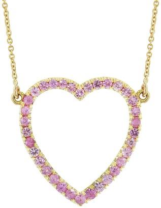 Jennifer Meyer Pink Sapphire Open Heart Necklace - Yellow Gold
