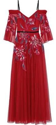 Marchesa Cold-shoulder Velvet-trimmed Embroidered Tulle Gown