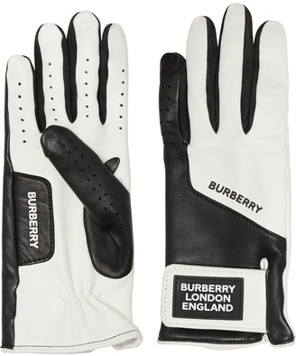 Burberry Logo Applique Two-Tone Gloves