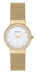 Bering Women's Crystal Gold-Tone Stainless Steel Mesh Bracelet Watch 26mm