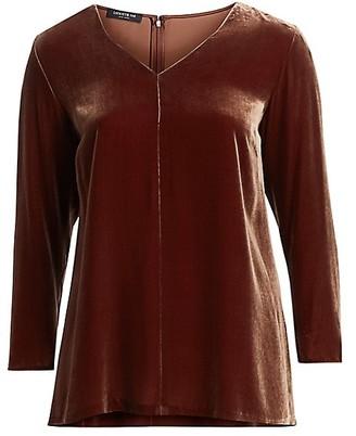 Lafayette 148 New York, Plus Size Thurmen Classic Velvet Blouse