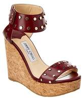 Jimmy Choo Nelly 120 Studded Shiny Leather Wedge Sandal.