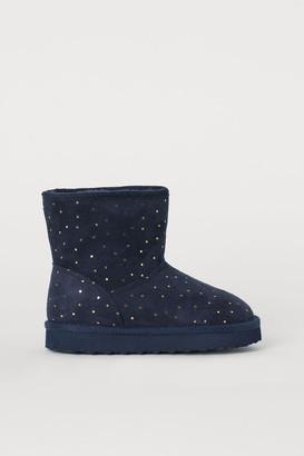 H&M Faux Fur-lined Boots - Blue