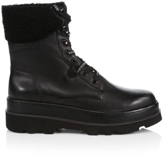Ash Siberia Faux Fur-Lined Leather Combat Boots