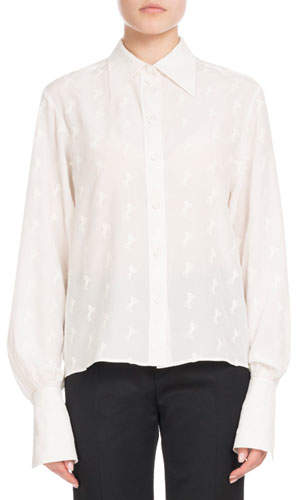 Chloé Long-Sleeve Button-Front Tonal Horse-Print Silk Crepe de Chine Blouse