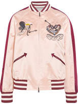 Valentino Embellished Silk-satin Bomber Jacket - Blush