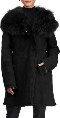 HiSO Toscana Shearling Fur Hooded Stroller Coat