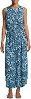 MICHAEL Michael Kors Sleeveless Button-Front Maxi Dress, Peacock