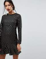 Warehouse Metallic Spot Ruffle Hem Dress