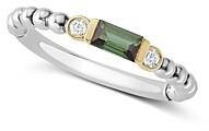 Lagos 18K Gold & Sterling Silver Green Tourmaline & Diamond Stacking Ring