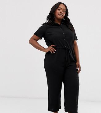 Asos DESIGN Curve shirt jumpsuit with tie waist-Black