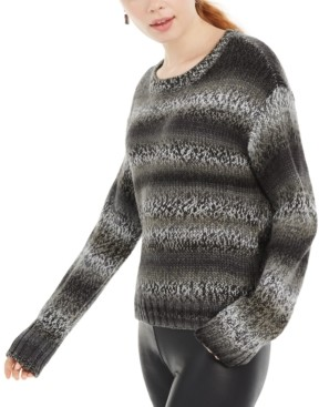 Ultra Flirt Juniors' Ombre-Striped Pullover Sweater