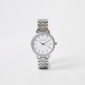 River Island Womens Silver colour diamante face watch